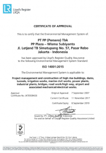 Certificate of Approval for ISO 14001:2015